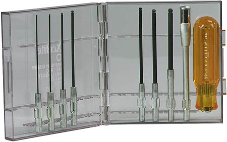 Cooper Xcelite 9-piece Series 99® Ballpoint Allen® Hex Socket Screwdriver Set, Metric, Contains 7 Metric Screwdriver Blades, 99X5 Extension, & 991 Handle in a Clear Plastic Case. 99PS41MMBP