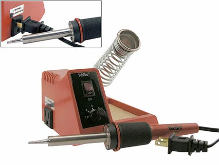 Cooper Weller 40 Watts Soldering Station for Hobbyist and Do-It-Your Selfer, On-Off Switch with Power On Indicator Light, Variable Power 5-40 Watt, Cushion Foam Grip. WCC105 Safety Guard Iron Holder with Natural Sponge Tip Cleaning Pad. WLC100